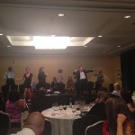 Sandy Alemian's hypnosis show at book launch party